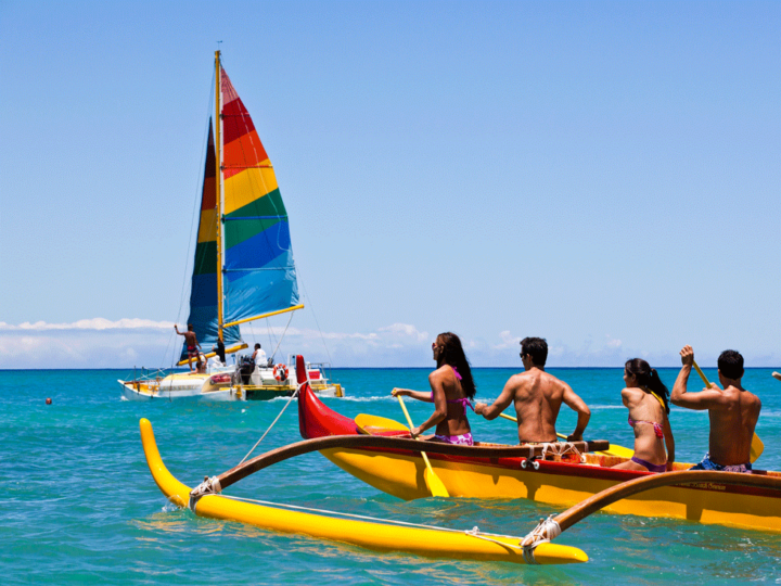 Canoeing on Waikiki beach, Oahu
