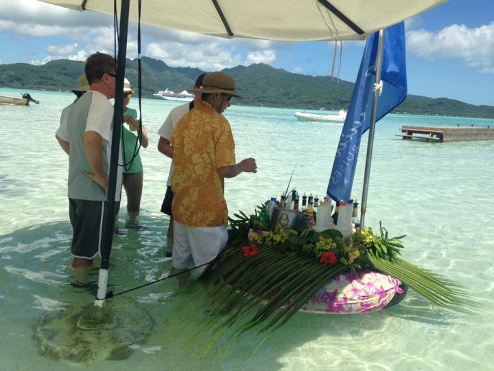 Paul Gauguin Cruises floating bar on Motu Monday