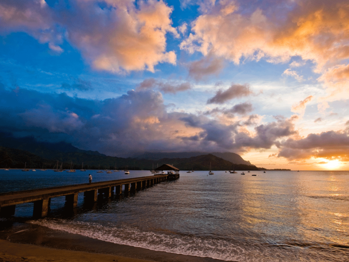 Sunrise over the beach in Hanalei, Kauai