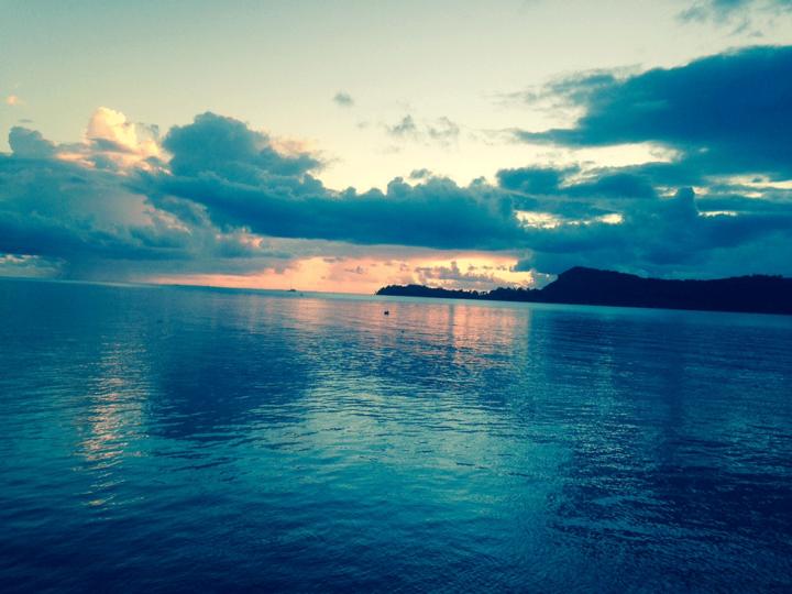 Sunset across the water in Bora Bora