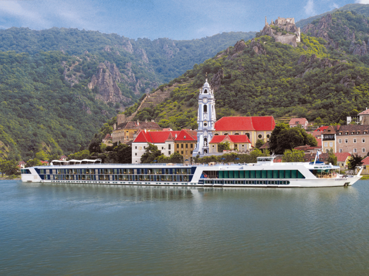 The AmaBella cruise ship passing Durnstein, Austria