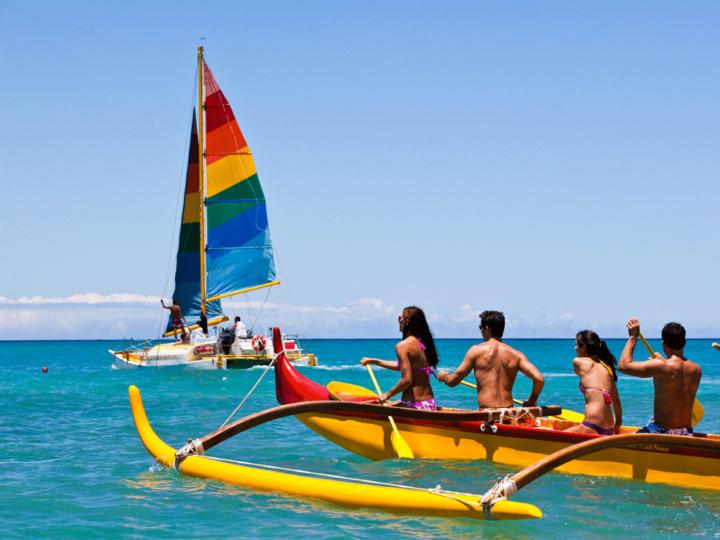 Canoeing on Waikiki beach, Oahu