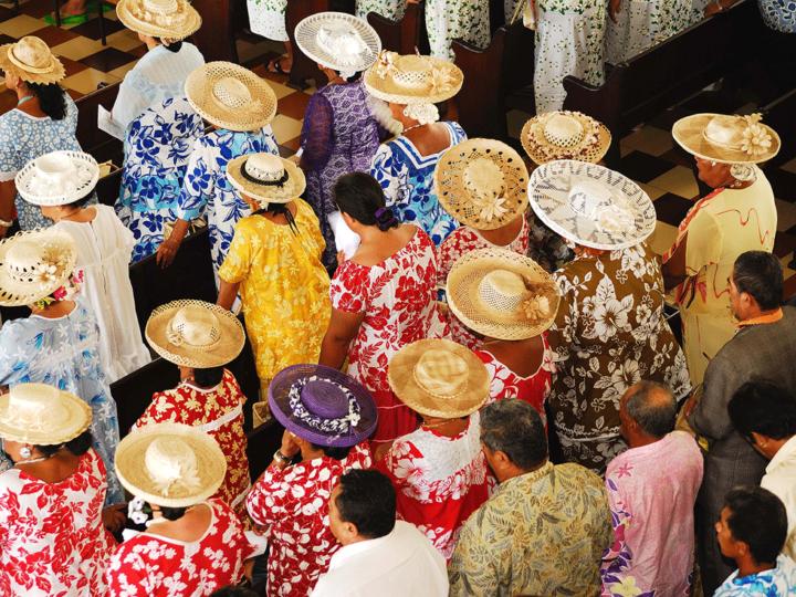 Colorful dresses at Tahitian church