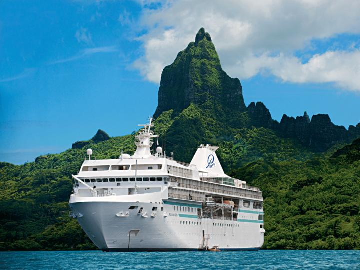 Paul Gauguin cruise ship anchored off of Bora Bora